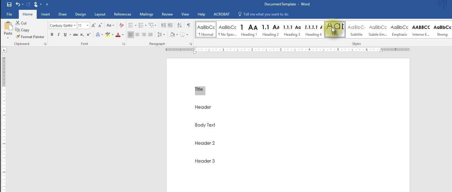 Select a Microsoft Word Style